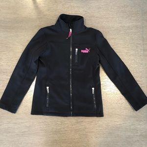 Puma black/pink full zip jacket sz 6x scuba style